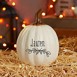 """""""Count Your Blessings"""" Small Resin Pumpkin Decoration in Cream"""