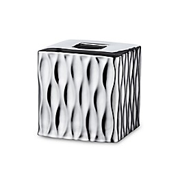 Rosalli Trading Silver Wave Boutique Tissue Box Cover in Silver