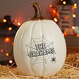 Spidwerweb Resin Pumpkin Decoration in Cream