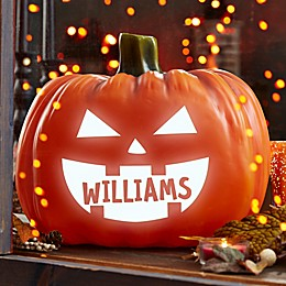 7.25-Inch Light Up Jack-O-Lantern Pumpkin in Orange