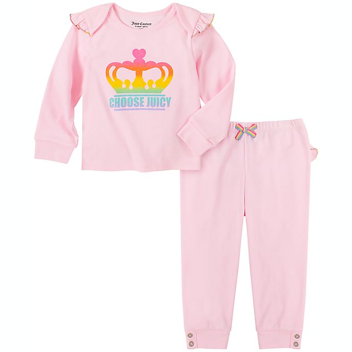 Alternate image 1 for Juicy Couture® Size 6-9M 2-Piece Crown Logo Shirt ad Pant Set in Pink