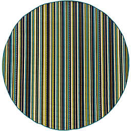 Cabana Bay Cannon Lorna 7'10 Round Indoor/Outdoor Area Rug in Blue