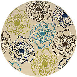 Cabana Bay Cannon Flora 7'10 Round Indoor/Outdoor Area Rug in Ivory