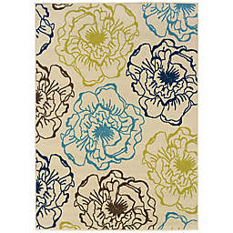 Cabana Bay Cannon Flora 7'10 x 10'10 Indoor/Outdoor Area Rug in Ivory