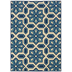 Cabana Bay Cannon Seale 6'7 x 9'6 Indoor/Outdoor Area Rug in Ivory
