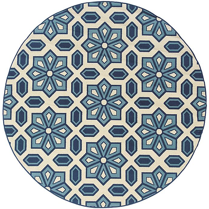 Alternate image 1 for Cabana Bay Cannon Seale 7'10 Round Indoor/Outdoor Area Rug in Ivory