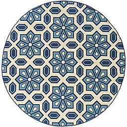 Cabana Bay Cannon Seale 7'10 Round Indoor/Outdoor Area Rug in Ivory
