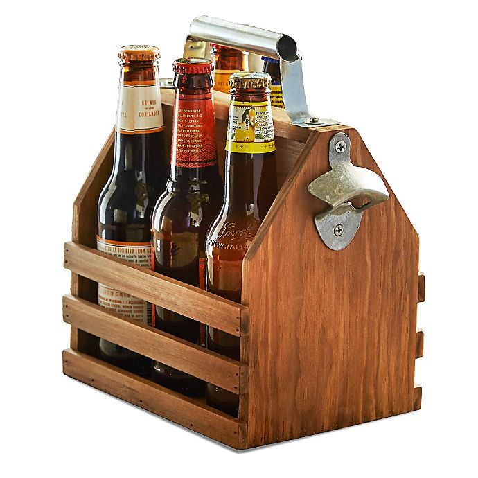 Alternate image 1 for HammerAxe Bottle Caddy with Opener in Brown