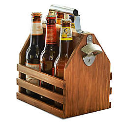 Polished Bottle Caddy with Opener in Brown