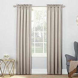 Sun Zero Riku Thermal Insulated Room Darkening Rod Pocket Window Curtain Panel Pair