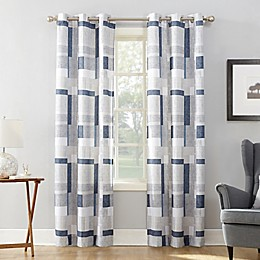 No.918® Takumi Geometric Blocks Grommet Window Curtain Panel in Navy