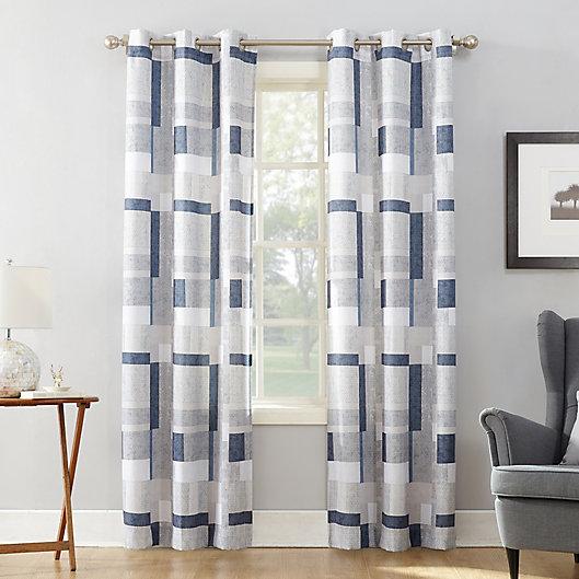Alternate image 1 for No.918® Takumi Geometric Blocks Grommet Window Curtain Panel in Navy (Single)