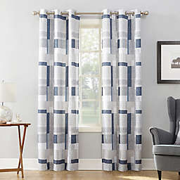 No.918® Takumi Geometric Blocks 95-Inch Grommet Window Curtain Panel in Navy