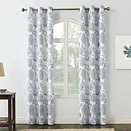 No. 918 Yuto Medallion Floral Semi-Sheer Grommet Window Curtain Panel