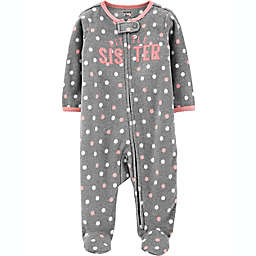carter's® Size 9M Sister Fleece Sleep 'N Play in Grey