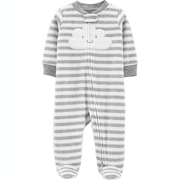 Alternate image 1 for carter's® Size 6M Cloud Microfleece Snap-Up Sleep & Play Footie in Grey