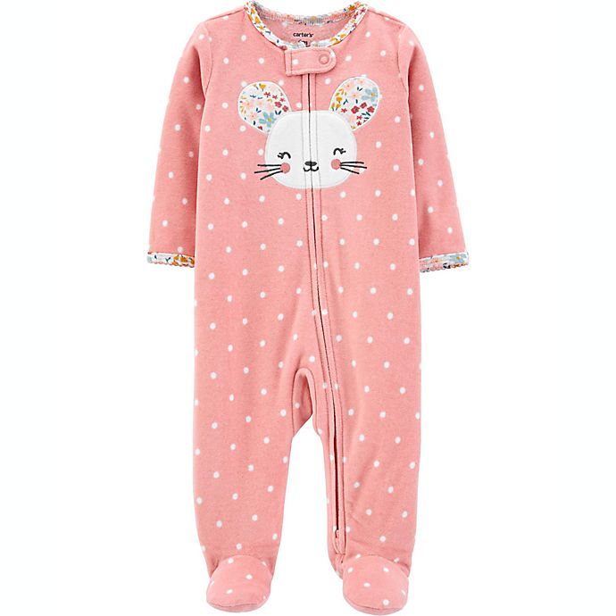 Alternate image 1 for carter's® Size 6M Mouse Fleece Sleep 'N Play in Pink