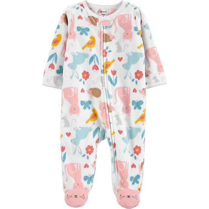 Alternate image 1 for carter's® Size 6M Animals Fleece Sleep 'N Play in White