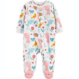 carter's® Size 6M Animals Fleece Sleep 'N Play in White