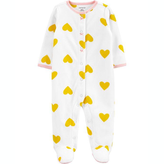 Alternate image 1 for carter's® Size 6M Heart Fleece Sleep 'N Play in White