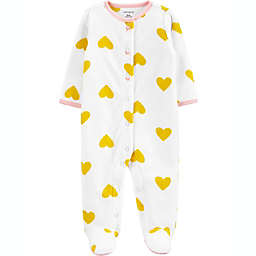 carter's® Size 3M Heart Fleece Sleep 'N Play in White