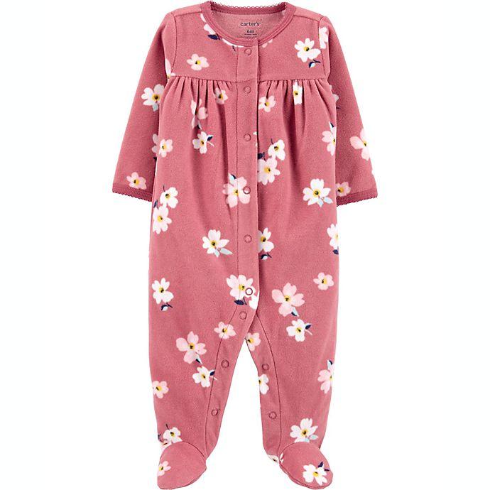 Alternate image 1 for carter's® Size 6M Floral Fleece Sleep 'N Play in Burgundy