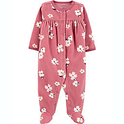 carter's® Size 6M Floral Fleece Sleep 'N Play in Burgundy