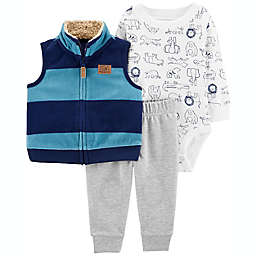 carter's® 3-Piece Striped Little Vest, Bodysuit, and Pant Set in Blue/Grey