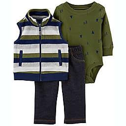 carter's® Newborn 3-Piece Striped Little Vest, Bodysuit, and Pant Set in Green