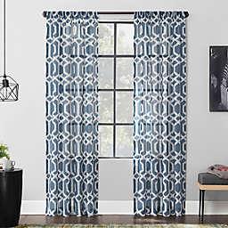 Scott Living Sloane Trellis Print Linen Blend Sheer Rod Pocket Curtain Panel (Single)