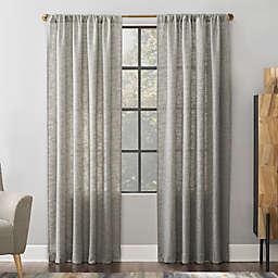 Scott Living Wallis Crosshatch Slub Textured Linen Sheer 96-Inch Rod Pocket Window Curtain in Mocha