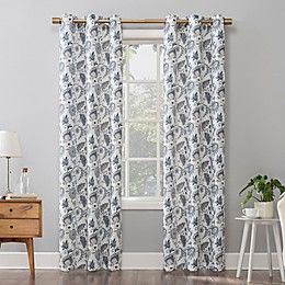 No.918® Emiko Vintage Scroll Floral Grommet Window Curtain Panel in Lavender