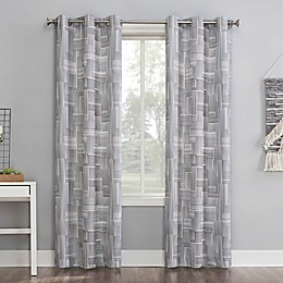 No.918® Tatsu Modern Grid Grommet Window Curtain Panel in Grey