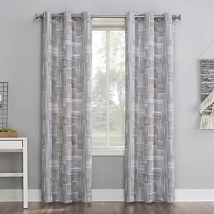 Alternate image 1 for No.918® Tatsu Modern Grid Grommet Window Curtain Panel in Grey (Single)