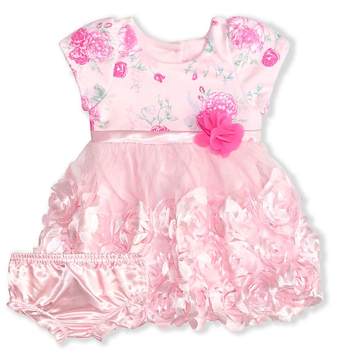 Alternate image 1 for Nannette Baby® Size 0-3M 2-Piece Rosette Dress and Diaper Cover Set in Pink