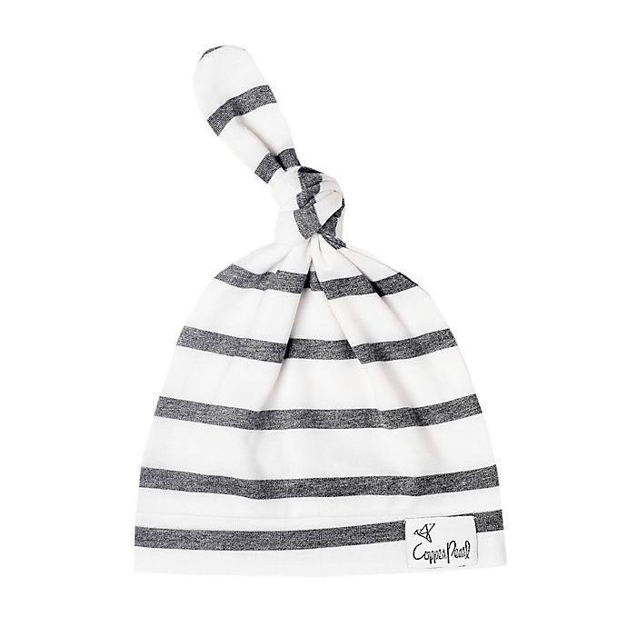 Alternate image 1 for Copper Pearl™ Size 5-18M City Top Knot Hat in White/Black