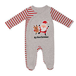 "Baby Starters® Size 9M ""My First Christmas"" Santa Footie in Grey"