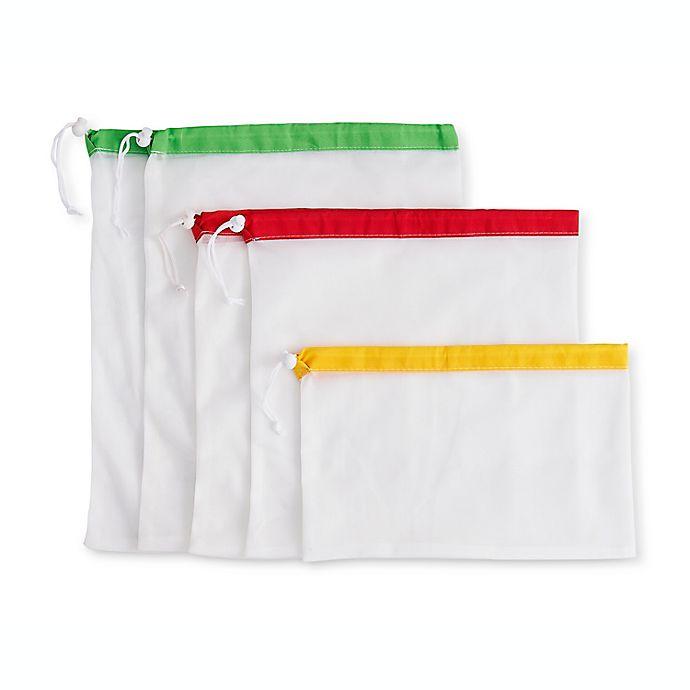 Alternate image 1 for Beyond Gourmet™ Reusable Mesh Produce Bags with Drawstring Closure, Set of 5 plus Storage Bag
