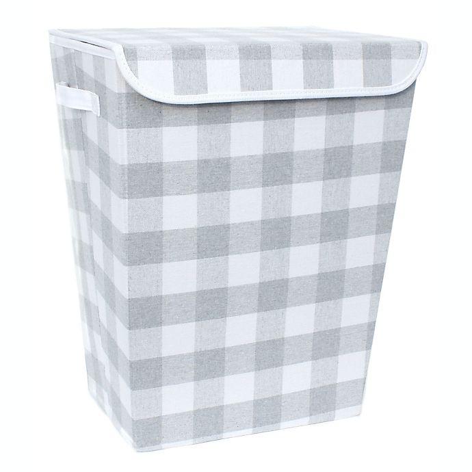 Alternate image 1 for Taylor Madison Designs® Buffalo Check Lidded Rectangular Hamper in Grey/White