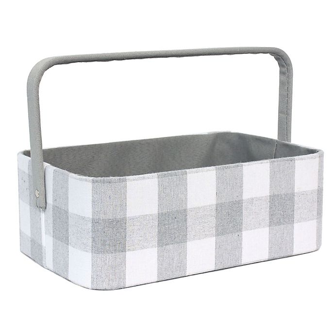 Alternate image 1 for Taylor Madison Designs® Buffalo Check Diaper Caddy in Grey/White