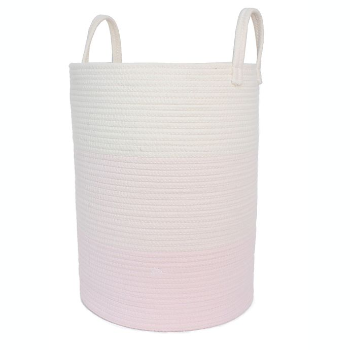 Alternate image 1 for Taylor Madison Designs® Ombre Round Rope Striped Hamper in Natural/Pink