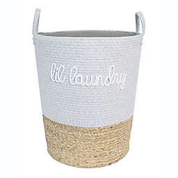 "Taylor Madison Designs® ""Lil Laundry"" Round Cotton Rope Hamper in Grey/Natural"