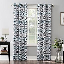 No.918® Hana Ikat Geometric  Grommet Window Curtain Panel in Teal