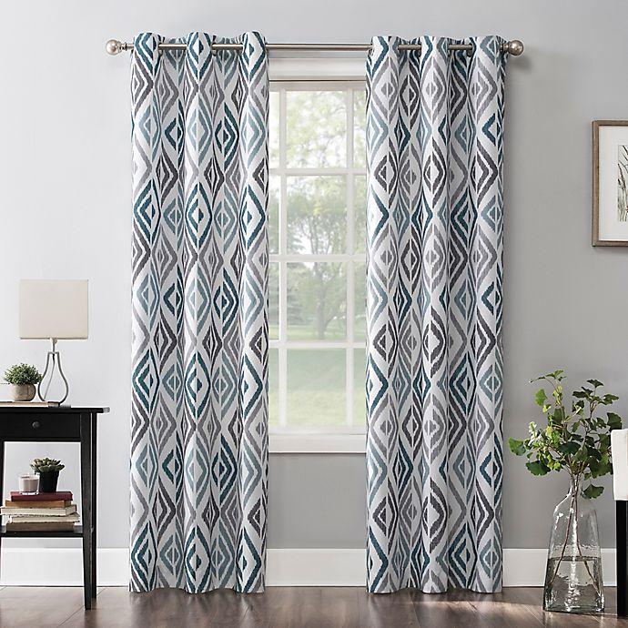 Alternate image 1 for No.918® Hana Ikat Geometric  Grommet Window Curtain Panel in Teal (Single)