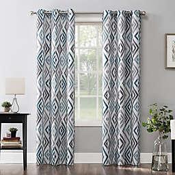 No.918® Hana Ikat Geometric  Grommet Window Curtain Panel in Teal (Single)