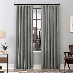 Scott Living Delton Stonewashed Semi-Sheer 84-Inch Ring Top Curtain Panel in Gey (Single)