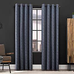 Scott Living Gresham Geometric Total Blackout 96-Inch Grommet Window Curtain Panel in Blue