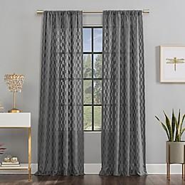 Scott Living Verge Geometric Clipped Jacquard Semi-Sheer Rod Pocket Window Curtain