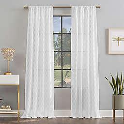 Scott Living Verge Geometric Clipped Jacquard Semi-Sheer 96-Inch Rod Pocket Window Curtain in White