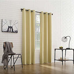 Sun Zero® Cooper Thermal Insulated 95-Inch Room Darkening Window Curtain Panel in Flax